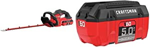 Craftsman V60 Cordless Hedge Trimmer, 24-Inch (CMCHTS860E1) and V60 Battery, 5.0 Ah Lithium Ion (CMCB6050)