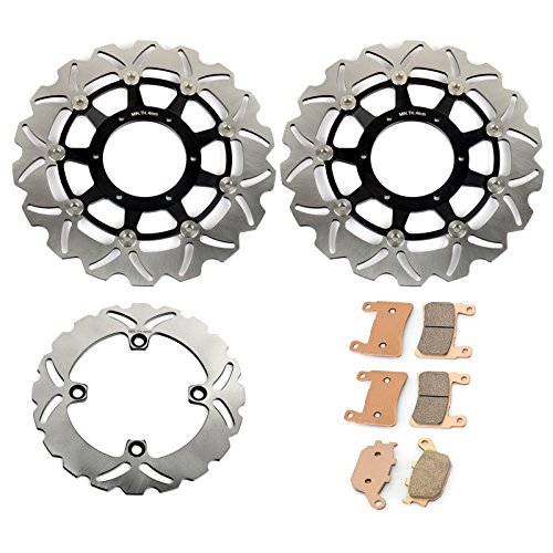 TARAZON Full Set Brake Rotors + Brake Pads Kit for Honda CBR600F4i Supersport 2001-2006
