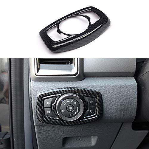 Carbon Fiber Color Headlight Switch Decorative Covers Fit for Ford Ranger 2015 2016 2017 2018 2019 2020 2021
