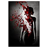 angel3292 Rose Lady Art Canvas Painting Living Room Bar Decorative Unframed Wall Picture