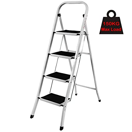 Step Ladder 3 Tread Aluminium Lightweight Portable Multi Purpose Portable Kitchen Stool Home Garden Tool DIY