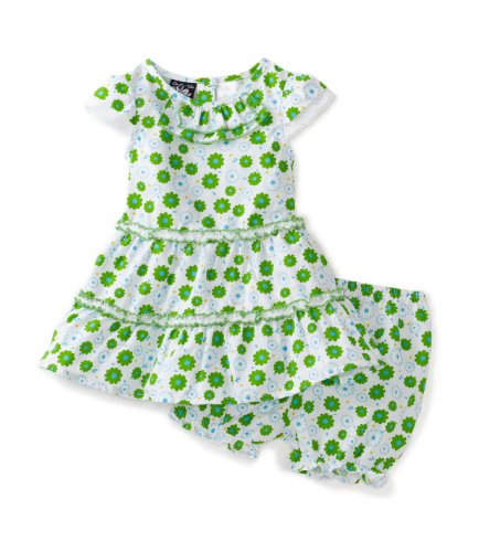 So La Vita Baby Girls' Double Ruffle Flower Print Skirt, Green, 18 Months