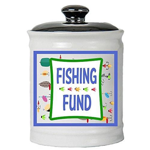 Cottage Creek Fishing Gifts Fishing Fund Jar Round Ceramic Coin Bank/Fishing Money Piggy Bank Gifts for Men [White]