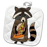 3dRose All Smiles Art Animals - Funny Cute Raccoon Eating Pizza Slice - 8x8 Potholder (phl_255704_1)