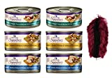 Wellness Signature Selects Grain Free Cat Food 3 Flavor Variety 6 Can Bundle with Toy, 2 each: Shredded Chicken Liver, Chunky Turkey Chicken, Flaked Skipjack Tuna Shrimp (2.8 Ounces)