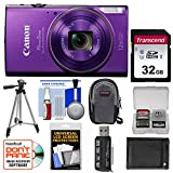 Cheap Canon PowerShot Elph 360 HS Wi-Fi Digital Camera (Purple) with 32GB Card + Case + Battery + Tripod + Kit