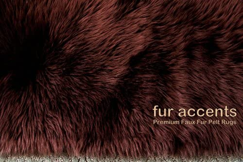 fur accents Faux Fur Area Rug Dark Brown Shag Rectangle 5 x7
