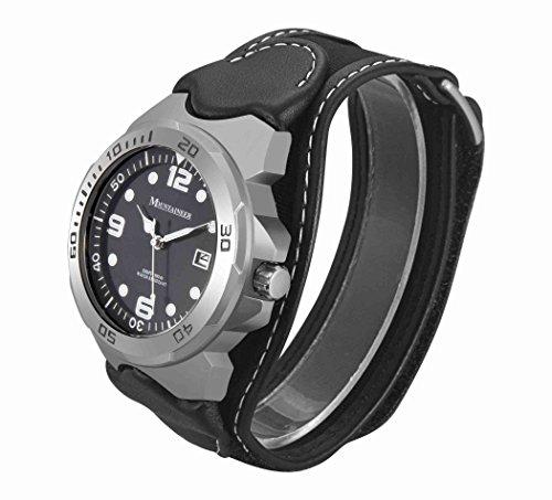 Mountaineer herr sportklocka svart läder och nylonrem vit sömnad Reloj para Hombre MN1450