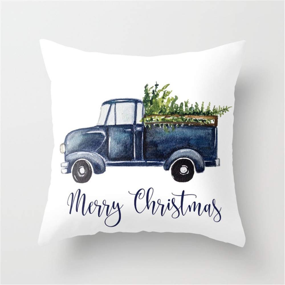 Baytor Blue Christmas Truck Throw Pillow Cushion Cover Case 18 X 18 inches