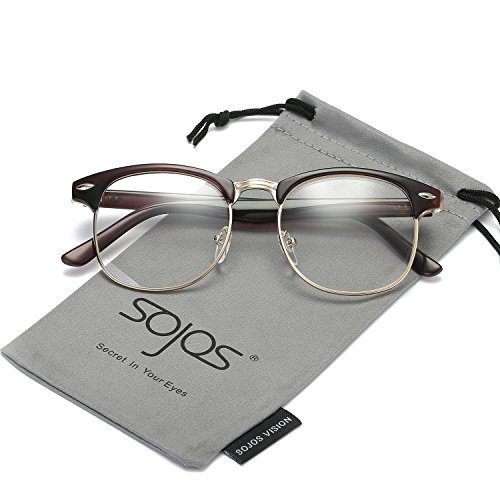 SojoS Classic Clubmaster Semi Rimless Eyewear Frame Clear Lens Eyeglasses SJ5018 With Brown Frame/Gold - Glasses Brown Clubmaster