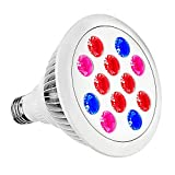 Led Grow Light Bulb,SOLMORE E27 Grow Plant Light,Plant Bulb with Full Spectrum Bulb for Flowering Lighting Indoor Garden Plants Greenhouse and Hydroponic Growing Lamp 12W