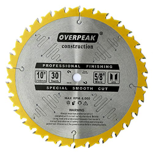 OVERPEAK 10 Inch ATB Saw Blade Wood Thin Kerf 30 Tooth Carbide Crosscutting Miter Saw Blades with 5/8 Inch (Thin Kerf Rip Circular Saw)
