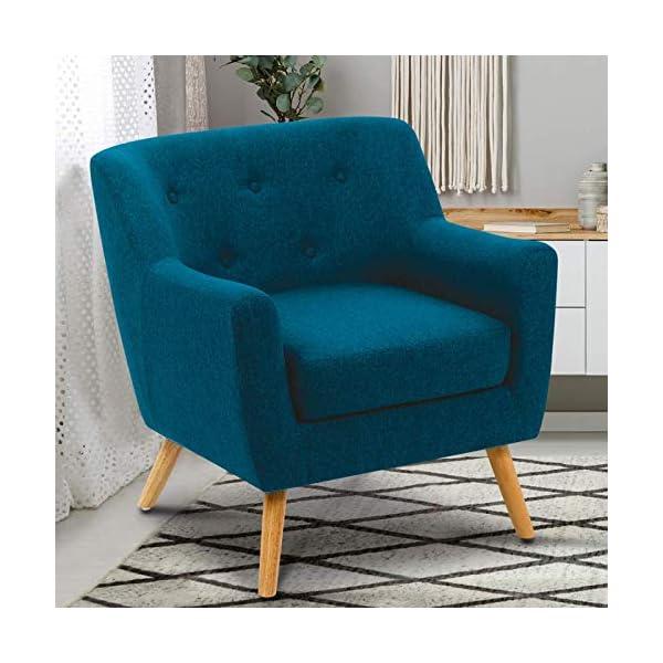 IDMarket – Fauteuil scandinave LIV en Tissu Bleu Canard