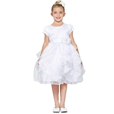 Amazoncom Good Girl Little Girls White Satin Organza Short Sleeve