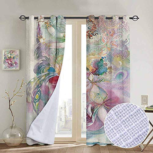 NUOMANAN Blackout Lined Curtains Watercolor,Oriental Dance Theme Young Girl Performing in Traditional Costume Fantasy Figure, Multicolor,Thermal Insulated,Grommet Curtain Panel 1 Pair 100