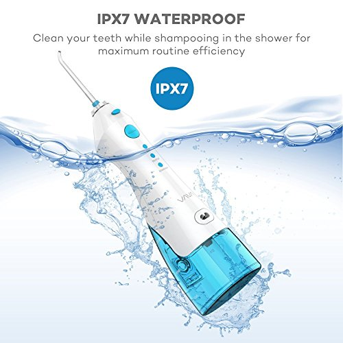 VAVA Water Dental Flosser for Whole Family, 220ML Capacity Removes 99.9% of Plaque, Debris & Tartar, Rechargable Cordless Oral Irrigator (3 Water Pressure Modes, 3 Jet Tips, FDA Approved, IPX7 Waterpr by VAVA (Image #5)