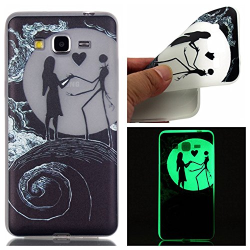 Samsung Grand Prime Case, Luminous Noctilucent Glow in the Dark Case Matching Design Protective Phone Back Cover TPU Shell Case for Samsung Galaxy Grand Prime G530H / G530A/G530F (Earth)