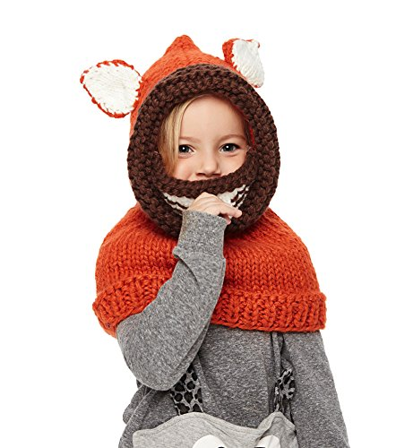 Sumolux Girls Kids Warm Animal Hats Knitted Coif Hood/Scarf Beanies for Winter