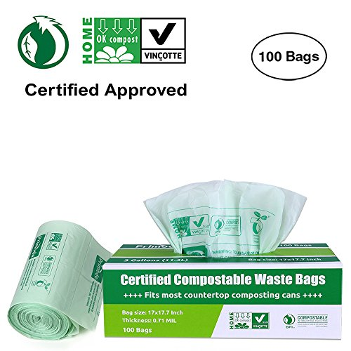Primode 100% Compostable Bags, 3 Gallon Food Scraps Yard Waste Bags, Extra Thick 0.71 Mil. ASTMD6400 Biodegradable Compost Bags Small Kitchen Trash Bags, Certified By BPI And VINCOTTE, (100) - Biodegradable Bin Liners