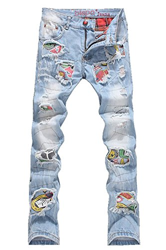 Denim Men's Patchwork Hole Ripped Jeans Size 30 ()