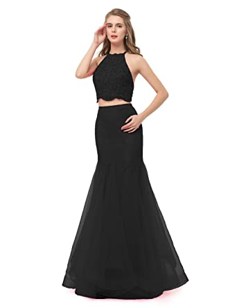 Sexy Mermaid Women Evening Dresses Formal Tulle Two Piece Prom Dresses Long (US2, Black