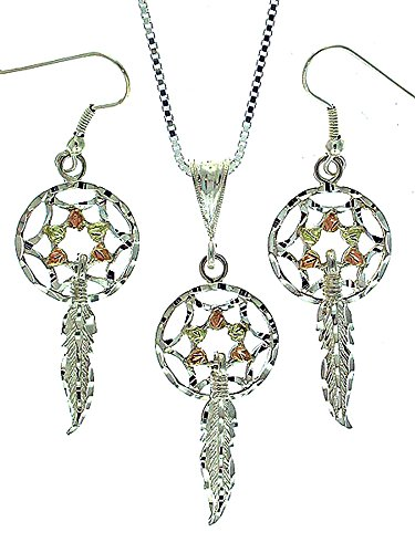 Beautiful! Sterling-silver Yellow-gold Black Hills Gold Dream Catcher dangle-earrings & Pendant 20 inch