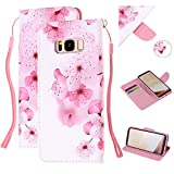 Amocase Strap Leather Case with 2 in 1 Stylus for Galaxy S8,Colorful Printed Premium Magnetic Wallet PU Leather Stand Shockproof Card Slot Case for Samsung Galaxy S8 - Beautiful Peach Blossom