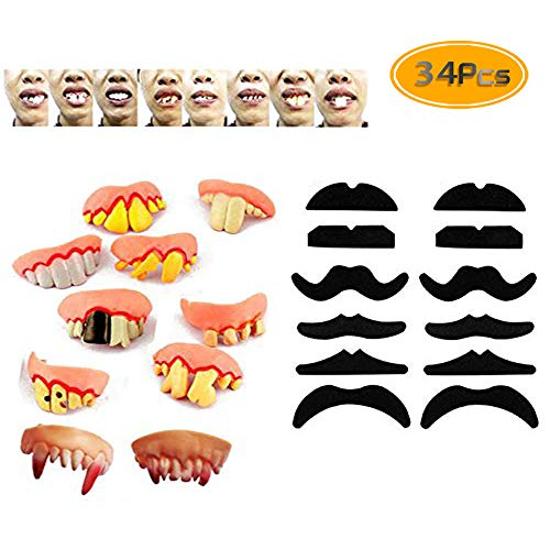 34PCS TKOnline Novelty Fake Mustache Mustaches Novelty & Toy And Ugly Fake Teeth Costume Party, Fancy Dress Party And Funny Gag Gift. -