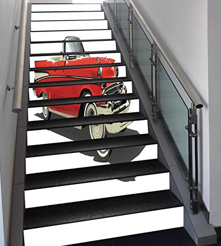 Stair Stickers Wall Stickers,13 PCS Self-adhesive,Cars,Old Fashioned Authentic Fancy Car with Open Roof Top Past Times Transportation Theme,Red Silver,Stair Riser Decal for Living Room, Hall, Kids Roo]()