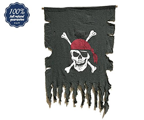 Beryllong Vintage Pirate Flag Bnaner Fabric Jolly Roger for pirate theme party, bar, interior,garden decorations (Pirate flag banner, Large, (30x36)) Pirate Flag Fabric