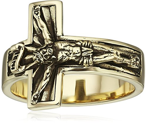 14kt-Gold-Mens-Crucifix-Mens-Ring-Size-10
