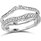 VBJewels 14k White Gold Toned Alloy Antique Vintage Simulated Diamond Ring Guard Wrap Solitaire Enhancer