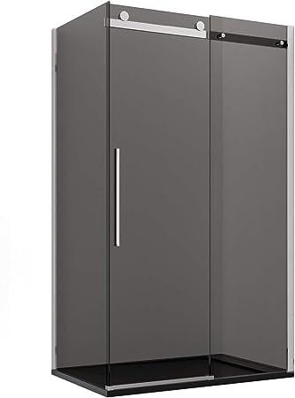 Olimpo - Cabina de Ducha Angular H195 con una Puerta corredera de Cristal Ahumado de 8 mm: Amazon.es: Hogar