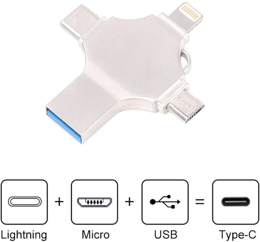 USB Flash Drive 3.0 Micro USB-C Memory Stick,4 in 1 Dual USB-C Thumb Drive Compatible A Wide Variety Devices Durable,64G
