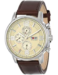 Tommy Hilfiger Mens 1710337 Stainless Steel Brown Leather Watch
