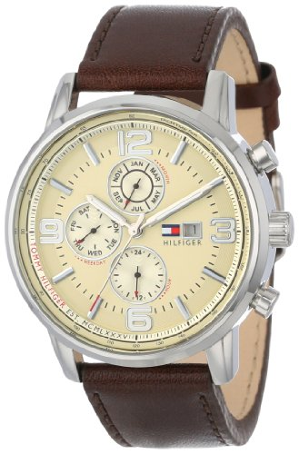 Tommy Hilfiger Men's 1710337 Stainless Steel Brown Leather - Calendar Perpetual Dial Strap White