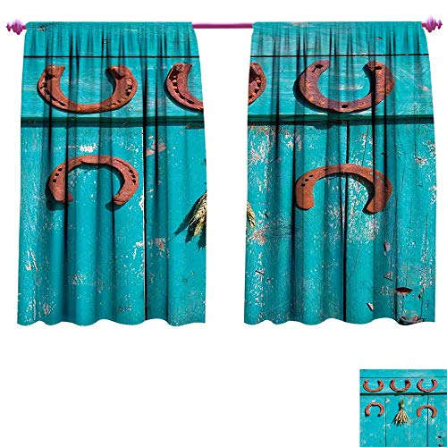 Western Window Curtain Fabric Five Antique Rusty Luck Symbol Horseshoe and Wheat Ears Bunch Picture Drapes for Living Room W72 x L45 Turquoise and Brown