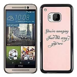 Be Good Phone Accessory // Dura Cáscara cubierta Protectora Caso Carcasa Funda de Protección para HTC One M9 // Amazing Just The Way Peach Gold Calligraphy