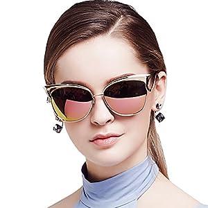 BLUEKIKI YEUX Cateye Sunglasses Women Fashion Vintage Polarized Eyeglasses(Rose gold)