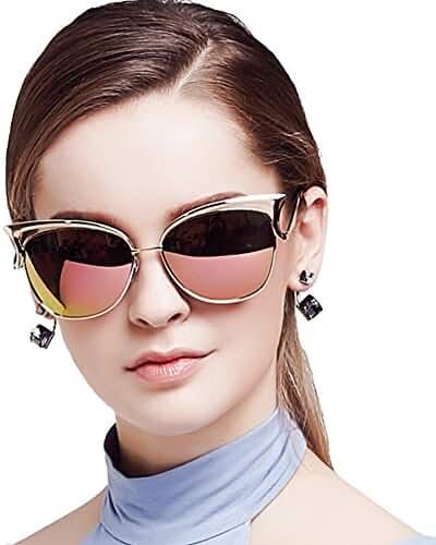 BLUEKIKI YEUX Cateye Sunglasses Women Fashion Vintage Glasses