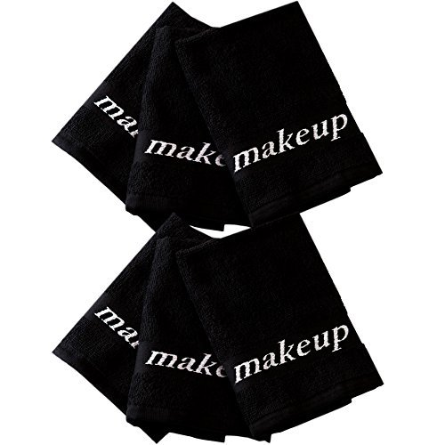 Home Bargains Plus 5852477 Make-Up Turkish Wash Cloth Set, Black, 6 Piece,