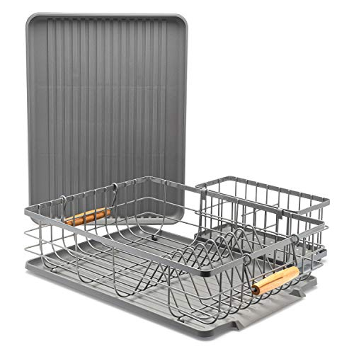 - Dish Drying Rack with Wooden Handles (16.5 x 12.5 x 5 Inches) Includes Removable Utensil Tray, 1 Drain Board, 1 Drip Tray - Large Dish Drainers for Kitchen Counter