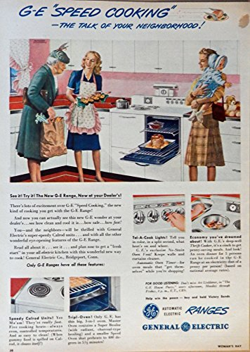 General Electric Ranges, Print Ad. Full Page Color Illustration (speed cooking-the talk of your neighborhood) Original Vintage, 1945 Rare, Woman's Day Magazine Art - Vintage Womans Day Magazine