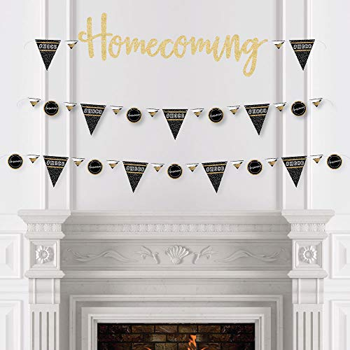 HOCO Dance - Homecoming Letter Banner Decoration - 36 Banner Cutouts and No-Mess Real Gold Glitter Homecoming Banner Letters by Big Dot of Happiness (Image #1)