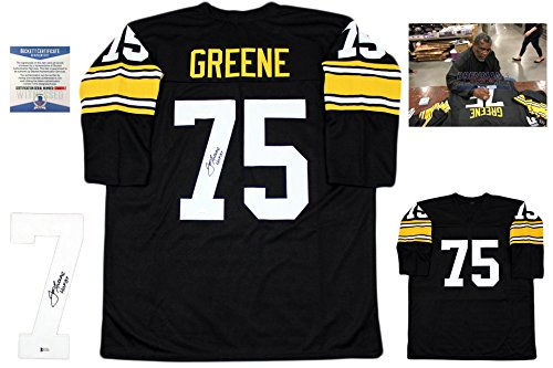 Joe Greene Autographed Signed Jersey with Photo - Black - Beckett Authentic - Greene Autographed Photo