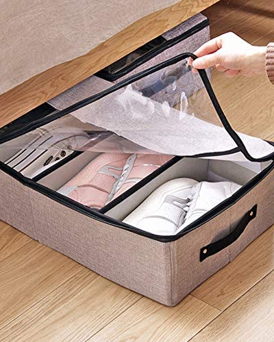 4 Clear Window for Clothing Reinforced Handle 1 Pack Beige Goklmn Under Bed Clothes Organizer Large Adjustable Dividers Storage Bag with Durable Fabric Blankets Sweaters Shoes Toys