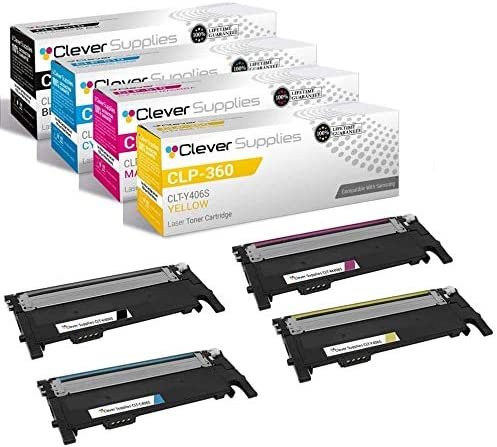 CS Compatible Toner Cartridge Replacement for Samsung CLP 360 CLT-K406S Black CLT-C406S Cyan CLT-Y406S Yellow CLT-M406S Magenta CLX-3305FN 3306WN 3307FW SL-C410W 4 Color Set