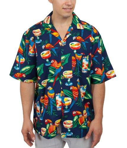 Parrots and Margaritas Hawaiian Shirt (XL, Navy)