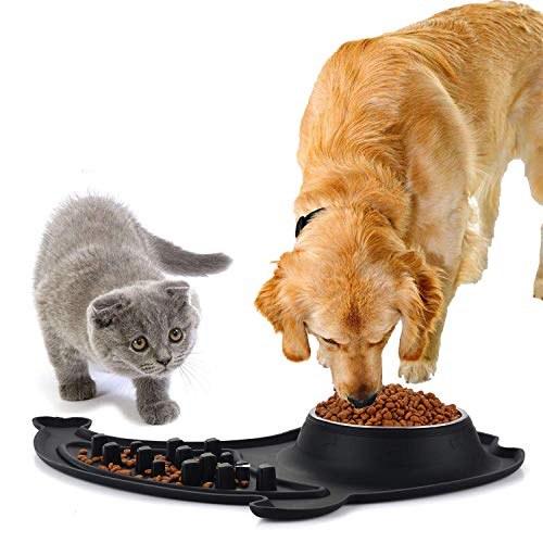 Ruipower Stainless Steel Dog Bowls, Large Dog Food Bowls Slow Feeder No Spill Non-Skid Silicone Mat, Pet Bowl Maze Feeder Double Dog Food Water Bowl Dogs Cats