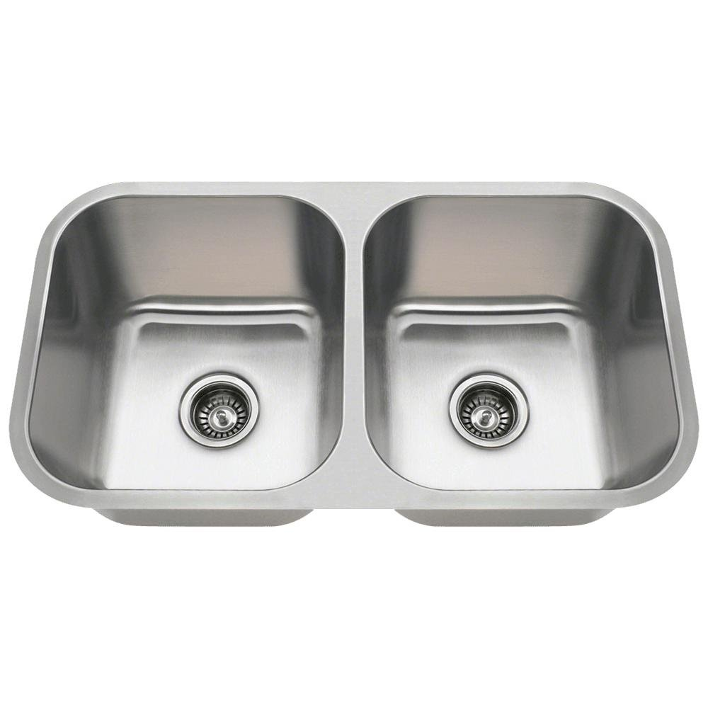 3218A 18-Gauge Undermount Equal Double Bowl Stainless Steel Kitchen Sink by MR Direct